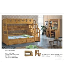 WOODEN BUNK BED WITH STAIRS-KIDS BEDROOM